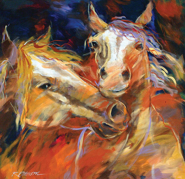 Nature Art Print featuring the painting Grecos Horses by Ron Patterson