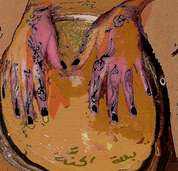 Human Composition Art Print featuring the mixed media Henna by Noredin Morgan