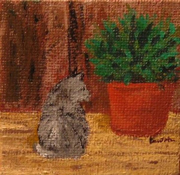 Cat Art Print featuring the painting Jake On Back Porch by Bari Titen
