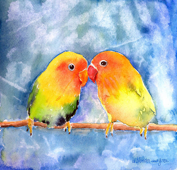 Lovebird Art Print featuring the painting Lovey Dovey Lovebirds by Arline Wagner