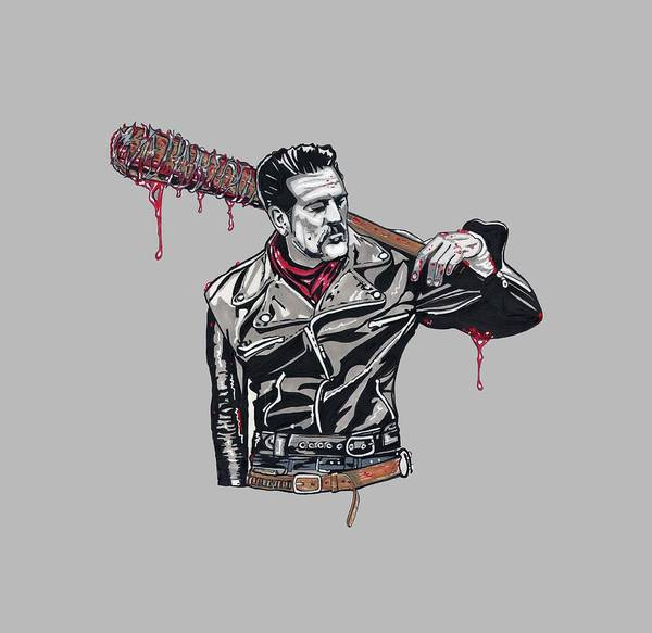 The Walking Dead Art Print featuring the drawing Lucille Is Thirsty by Oscar Rodriguez III