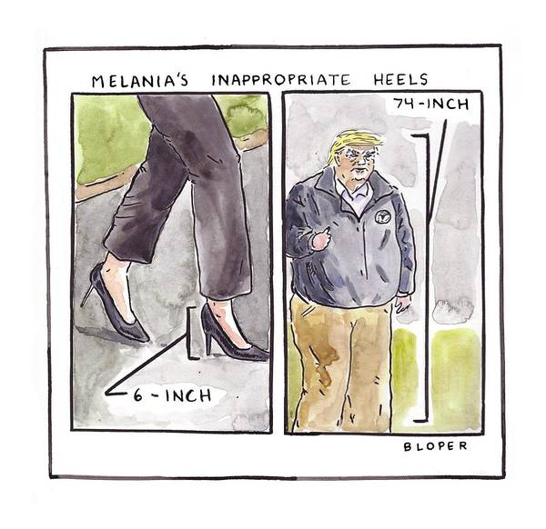 Melania Trump's Inappropriate Heels - 6 Inch Art Print featuring the drawing Melania's Inappropriate Heels by Brendan Loper