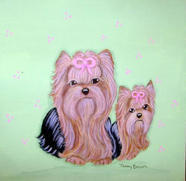 Yorkshire Terrier Art Print featuring the painting Mother's Love by Tammy Brown