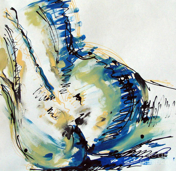 Drawing Art Print featuring the painting Nude Study by Iglika Milcheva-Godfrey