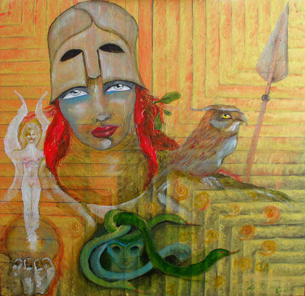 Greek Goddess Print featuring the painting Pallas Athena by Erika Brown