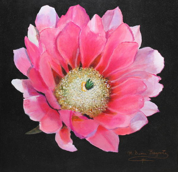 Floral Art Print featuring the painting Pink Cactus Flower by M Diane Bonaparte