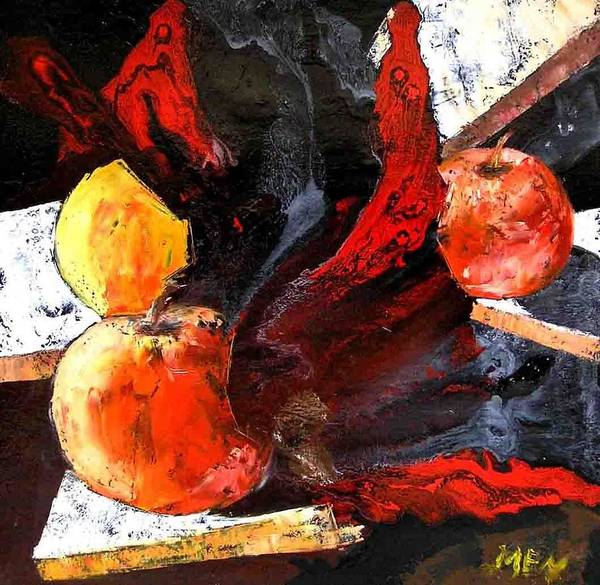 Art Print featuring the painting Red Apples by Evguenia Men