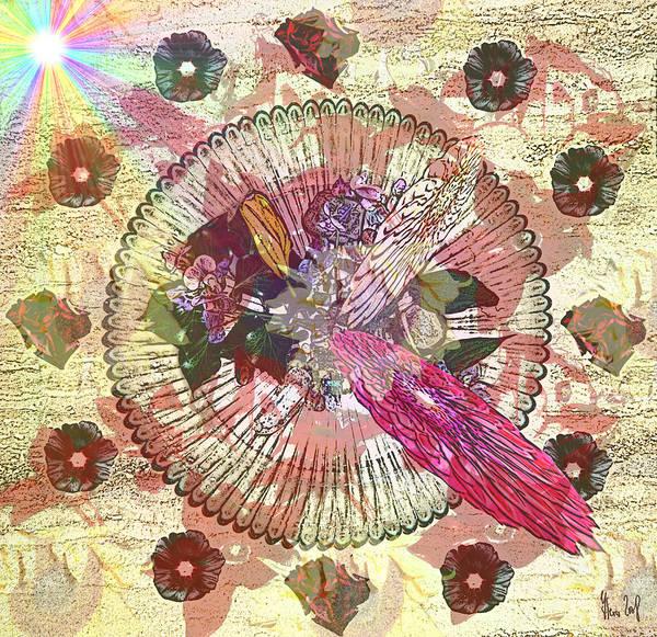 Flowers Art Print featuring the digital art The Flowerclock by Helmut Rottler