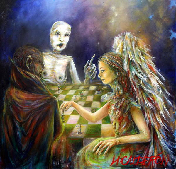 Angels Art Print featuring the painting The Game by Heather Calderon