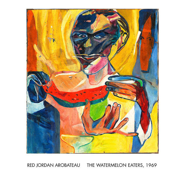Eating Art Print featuring the painting The Watermelon Eaters by Red Jordan Arobateau