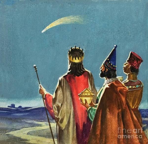 Three Wise Men; Nativity; Three Kings; Star Of David; Christ; Jesus; Birth; Bethlehem; Bible Art Print featuring the painting Three Wise Men by English School