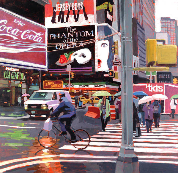 Urban Art Print featuring the painting Times Square Umbrellas by Patti Mollica