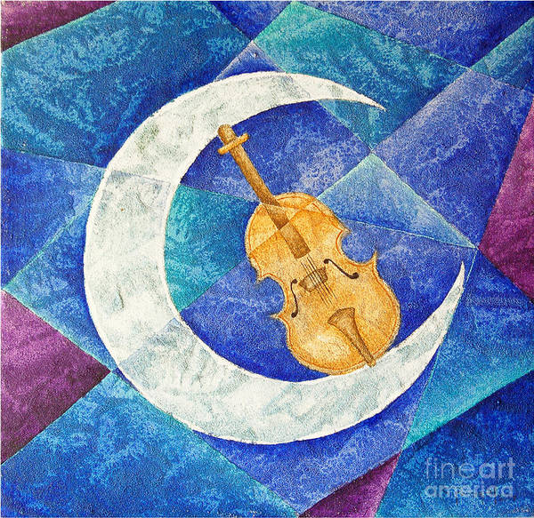 Moon Art Print featuring the painting Violin-moon by Son Of the Moon