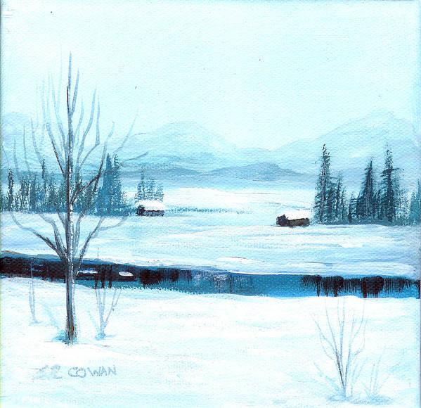 Winter Art Print featuring the painting Winter Blues by SueEllen Cowan