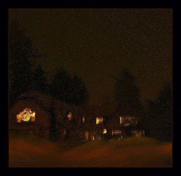 Mountain Lodge Art Print featuring the photograph Winter's Night by Gerry Tetz