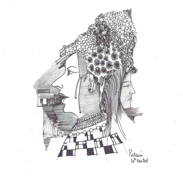 Women Art Print featuring the drawing Women With Headgear by Padamvir Singh
