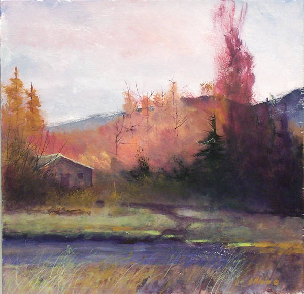 Landscape Art Print featuring the painting Yaak Cabin by Dalas Klein