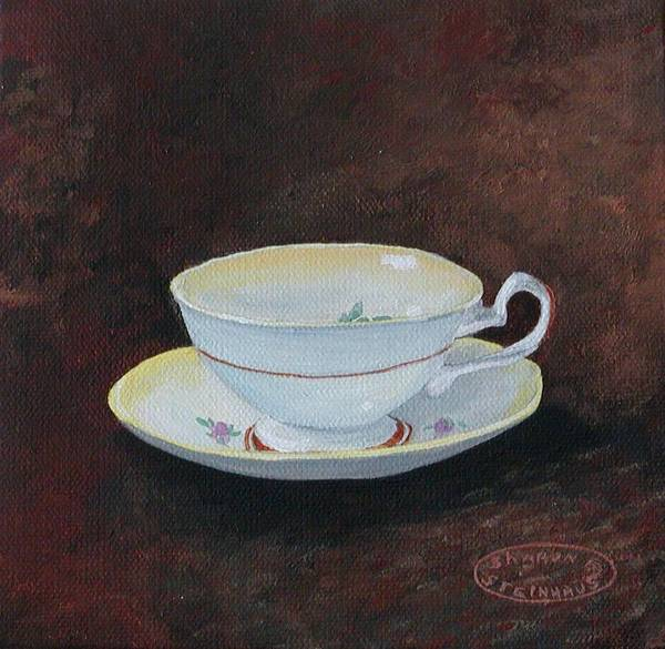 Cup And Saucer Teacup China Original Acrylic Art Print featuring the painting Yellow Teacup by Sharon Steinhaus