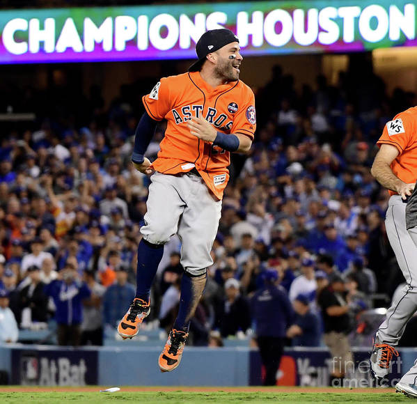People Art Print featuring the photograph World Series - Houston Astros V Los by Harry How