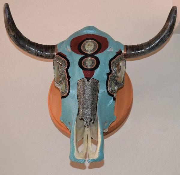 Delica Art Print featuring the mixed media Delica Skull by Charla Van Vlack