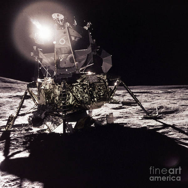 Transport Print featuring the photograph Apollo 17 Moon Landing by Science Source