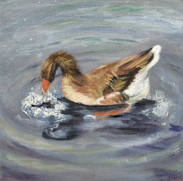 Animal Portrait Art Print featuring the painting Gus The Goose by Paula Emery