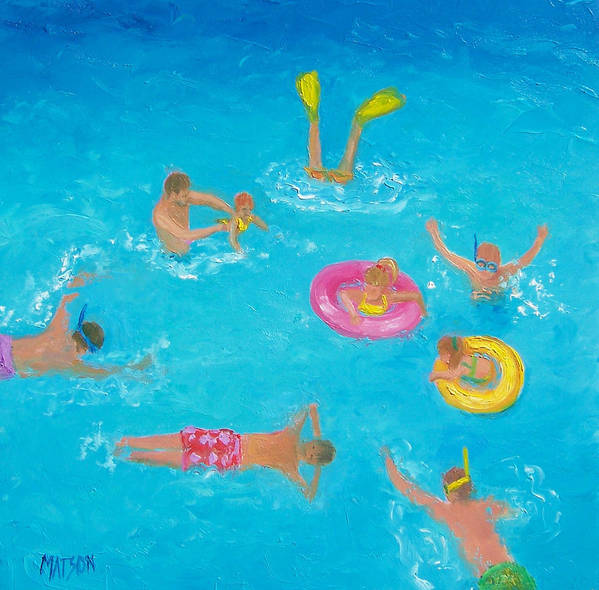Unique Swimming In A Pool Paintings | Fine Art America