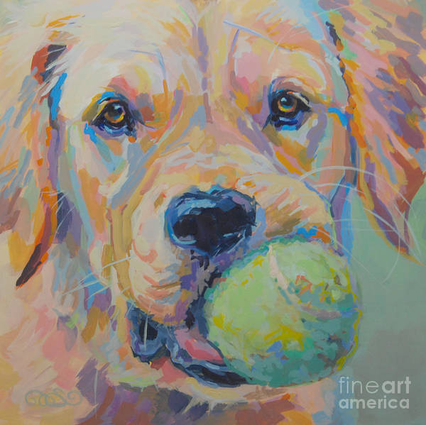 Golden Retriever Print featuring the painting Ball by Kimberly Santini