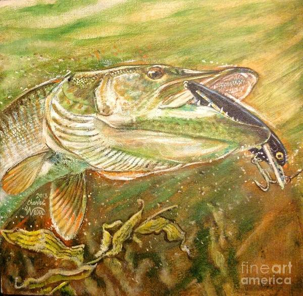 Muskie Art Print featuring the painting Big Bite by Charles Weiss