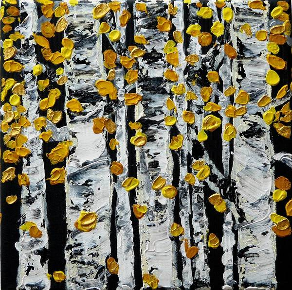 Birch Art Print featuring the painting Birch Study Fall by Valerie Ornstein