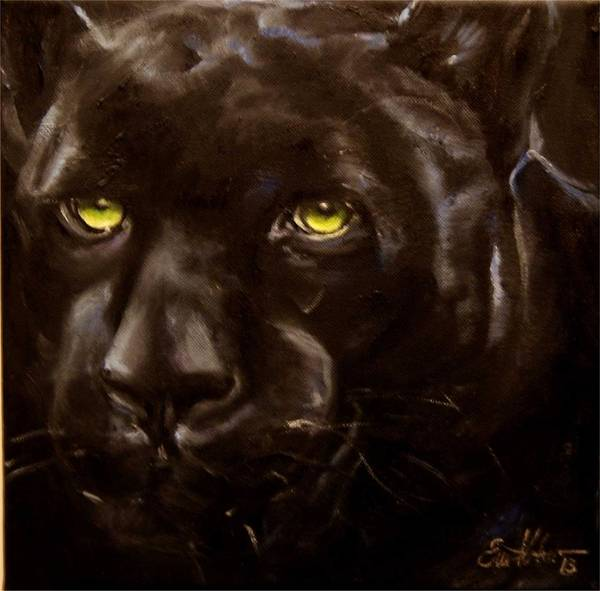 Black Panther Art Print featuring the painting Black Panther by Em Kotoul