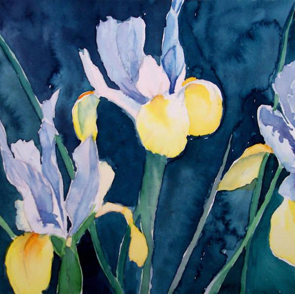 Flowers Art Print featuring the painting Blue Iris by Philip Fleischer
