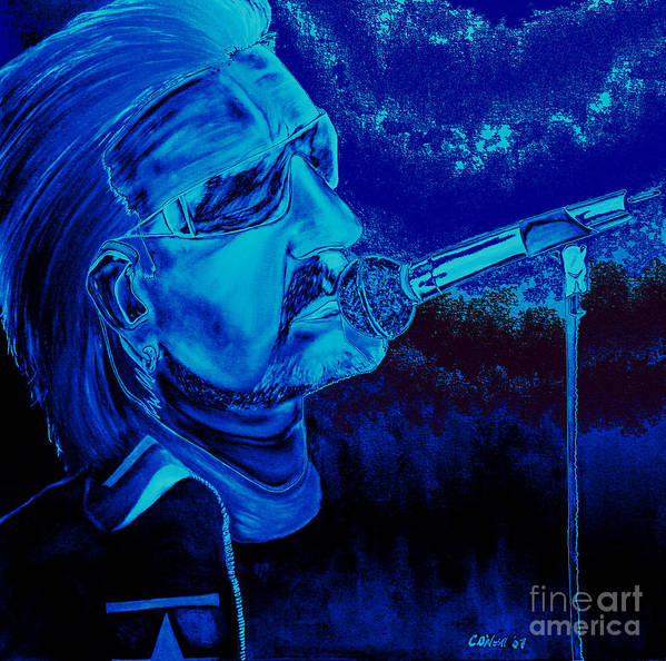 Bono Art Print featuring the painting Bono In Blue by Colin O neill