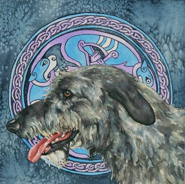 Celtic Art Print featuring the painting Celtic Hound by Beth Clark-McDonal