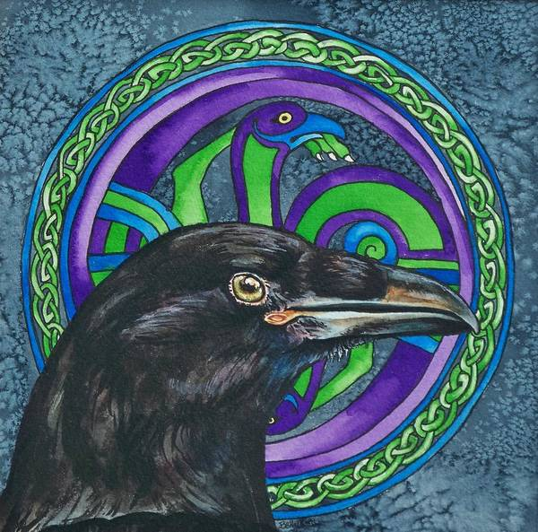 Celtic Art Print featuring the painting Celtic Raven by Beth Clark-McDonal