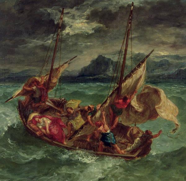 Christ On The Sea Of Galilee Art Print featuring the painting Christ On The Sea Of Galilee by Delacroix