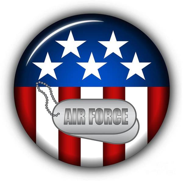 Air Force Print featuring the digital art Cool Air Force Insignia by Pamela Johnson