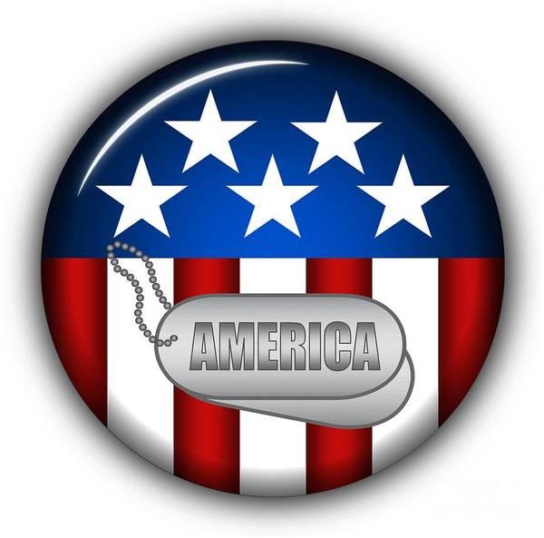 American Flag Art Print featuring the digital art Cool America Insignia by Pamela Johnson