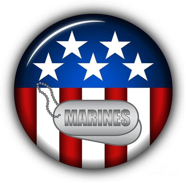 Marines Art Print featuring the digital art Cool Marines Insignia by Pamela Johnson