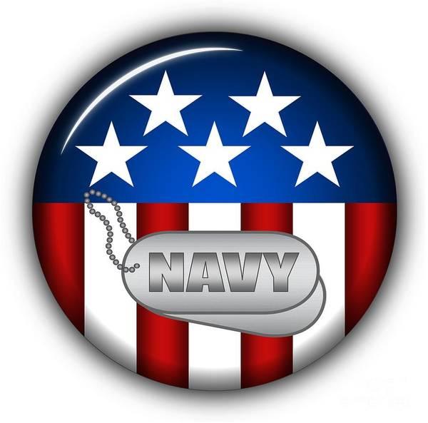 Navy Art Print featuring the digital art Cool Navy Insignia by Pamela Johnson