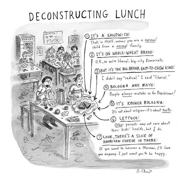 Sandwiches Art Print featuring the drawing Deconstructing Lunch by Roz Chast