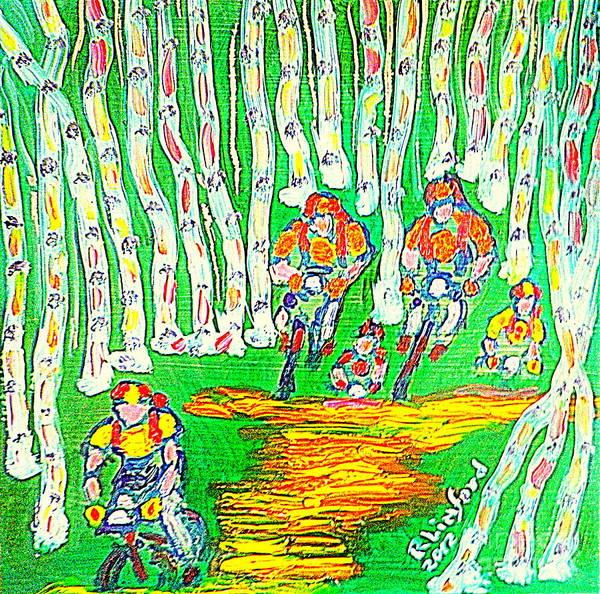 Deer Valley Art Print featuring the painting Deer Valley Mountain Biking 1 by Richard W Linford