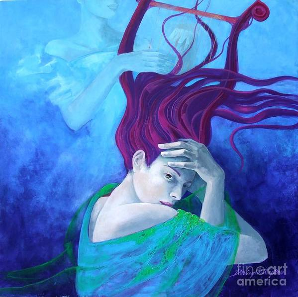 Fantasy Art Print featuring the painting Elegy by Dorina Costras