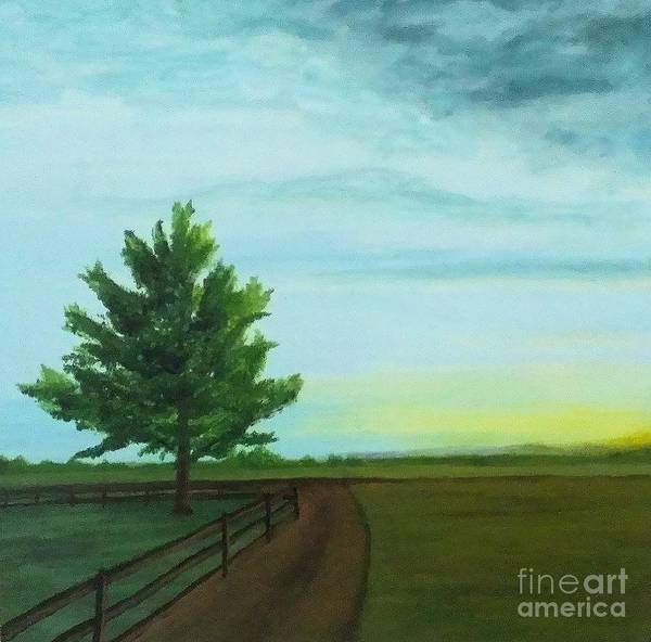 Sunrise Art Print featuring the painting Farm Sunrise by Ron Chabot