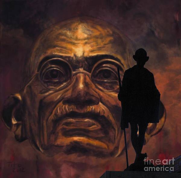 Gandhi Print featuring the painting Gandhi - The Walk by Richard Tito