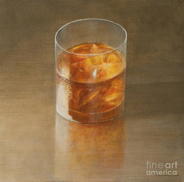 Alcohol; Glass; Drink; Booze; Beverage; Ice; Tumbler; Liquor; Whiskey; Bourbon; Alcoholic; Still Life; Spirit Art Print featuring the painting Glass Of Whisky 2010 by Lincoln Seligman