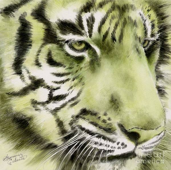 Tiger Art Print featuring the painting Green Tiger by Summer Celeste