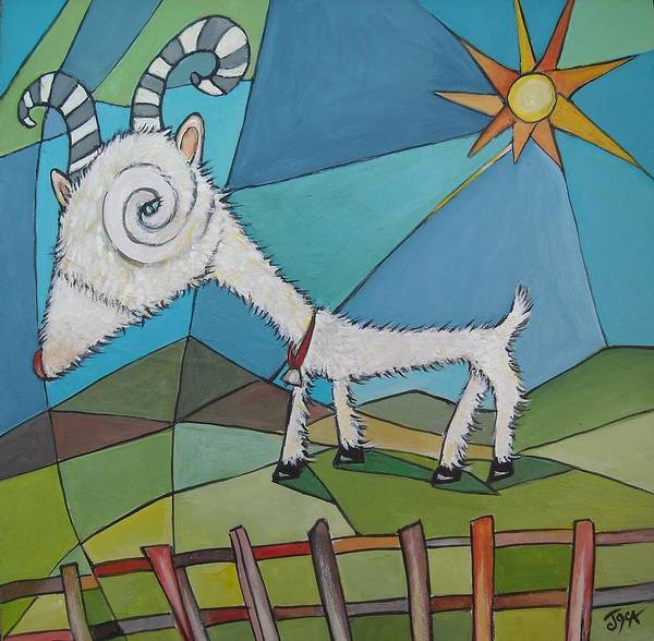 Abstract Painting Of A Happy Goat Art Print featuring the painting Happy Goat by Janine Cooper Ayres