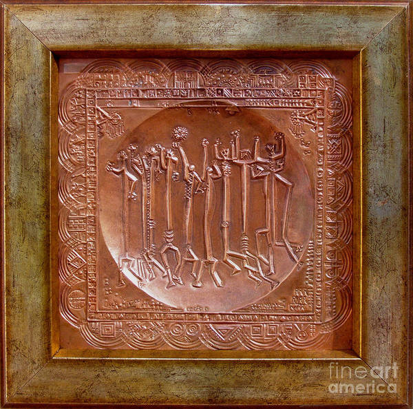 Repousse Art Print featuring the relief Homo Ludens by Gyula Friewald