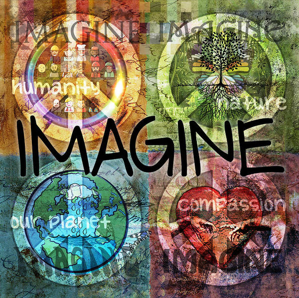 Imagine Print featuring the digital art Imagine by Evie Cook